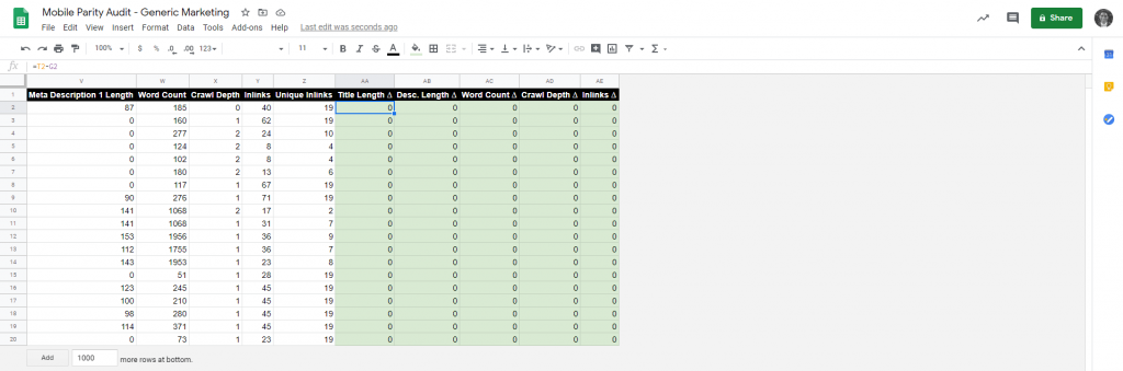 Screenshot of Google Sheets for the difference in metrics.