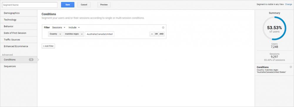 Screenshot of Google Analytics with a custom segment regex for countries.