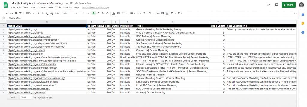 Screenshot of Google Sheets showing the Mobile URLs.