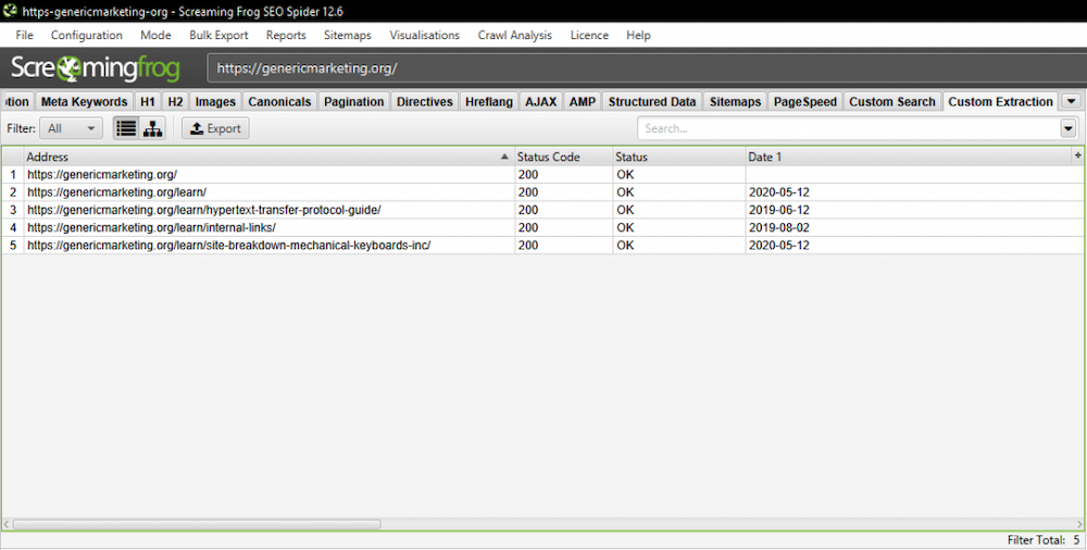 Screenshot of the Screaming Frog dashboard showing the dates extracted using regular expressions.