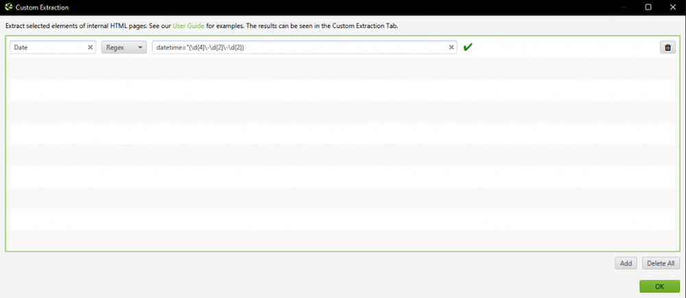 Screenshot of Screaming Frog, showing how to input regular expressions into the custom data extraction feature.