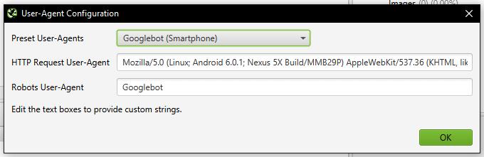 Screenshot of Googlebot Smartphone User Agent in Screaming Frog.