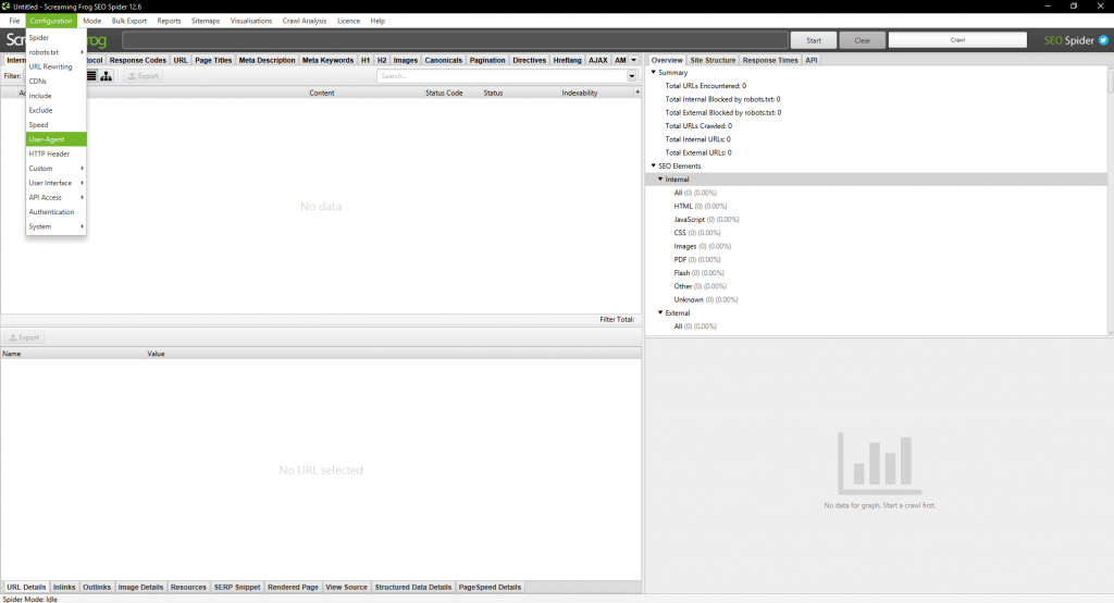 Screenshot of where to find the user agent setting in Screaming Frog.